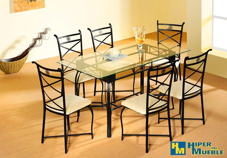 Conjunto mesa comedor 6 sillas for El hiper del mueble